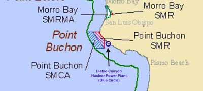 Location of Diablo Canyon Power Plant and surrounding marine reserve areas